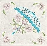 Fairway 92601 Quilt Blocks, Cross Stitch Umbrella Design, White, 6 Blocks Per Set
