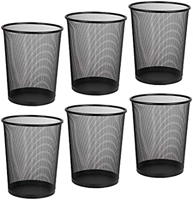 Black Garbage Container Bin for Office DESIGNA Mesh Small Trash Cans Home Bedroom 6-Pack Metal Wastebaskets