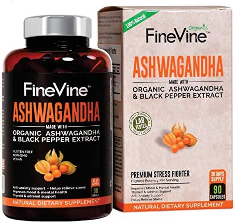 Organic Ashwagandha Root Powder - 90 Veggie Capsules   with Black Pepper Extract   Natural Herbal Supplement for Anxiety, Stress Relief, Adrenal Fatigue, Thyroid Support   Boost Mood, Energy, Libido