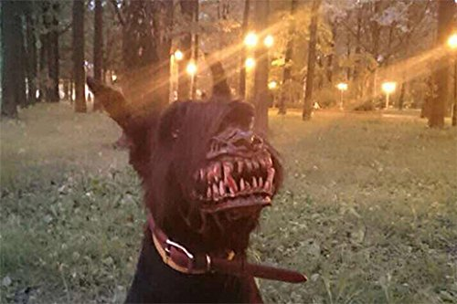 Zombie Werewolf Dog Muzzle Scary Muzzle with Teeth Halloween Muzzle for Dog Anti-Biting Muzzle and Chewing (5) -