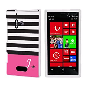 SkinGuardz Designer White Hard Case for Nokia Lumia 928 - Black Pink Stripe Monogram Initial J