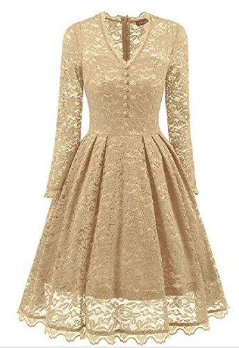 Long Comfy Dress Solid Sleeve Color Notch Women's Apricot Lace Collar Fit Agwq16