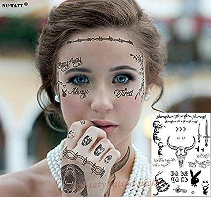 5Pcs Etiqueta Engomada Del Tatuaje De La Cara De Malone Etiqueta ...