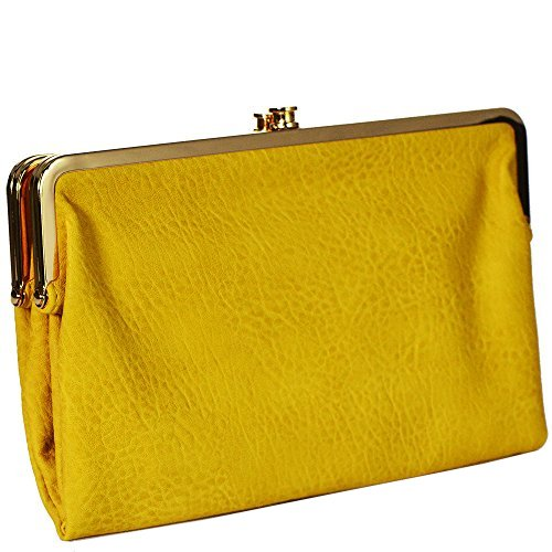 Kiss Lock Wallet (Urban Expressions Vegan Leather Sandra Clutch Wallet (YELLOW))