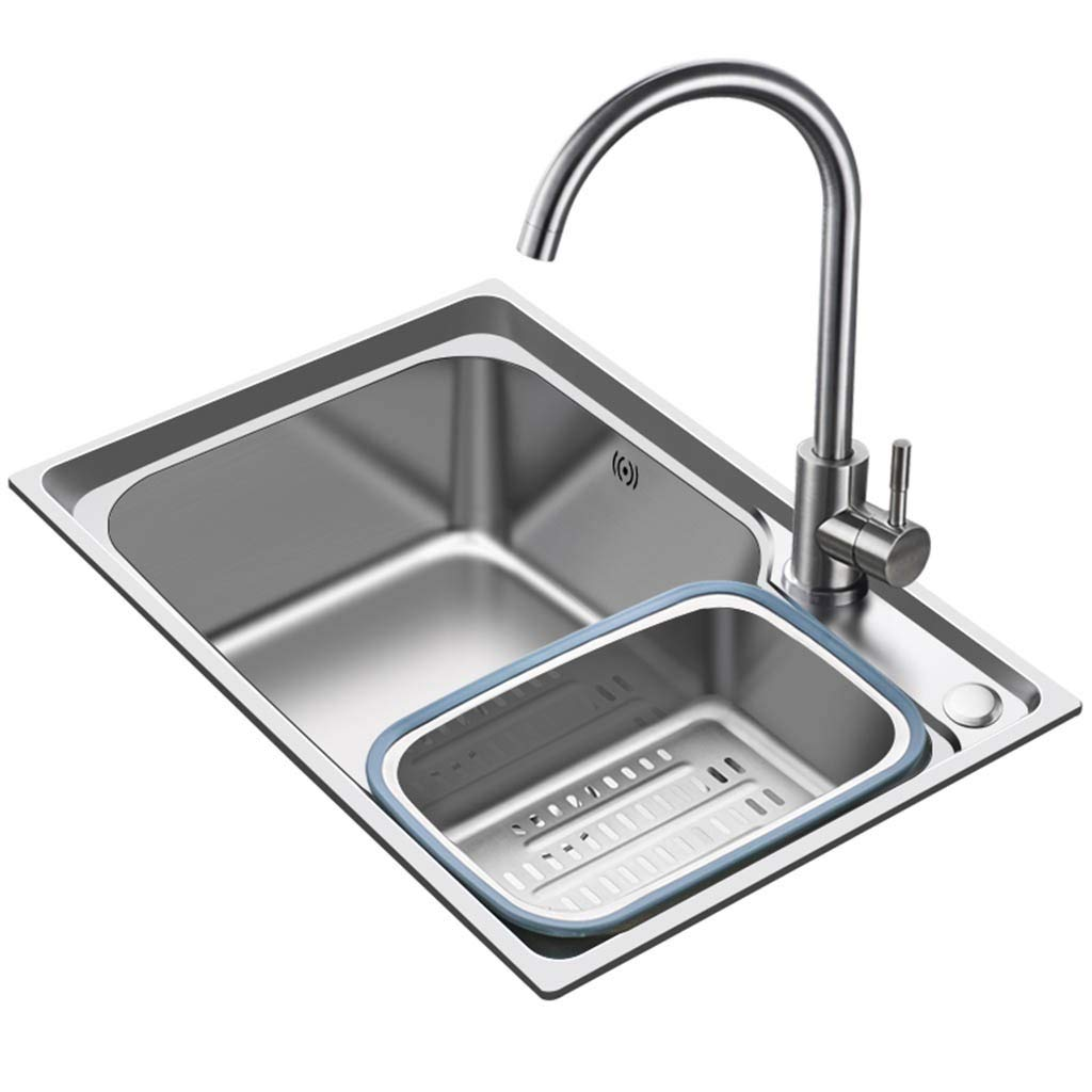 HJKIU 25 Inch Undermount Single Bowl Gauge Handmade Stainless Steel Kitchen Sink Drain Basket for Washing Dishes Vegetables