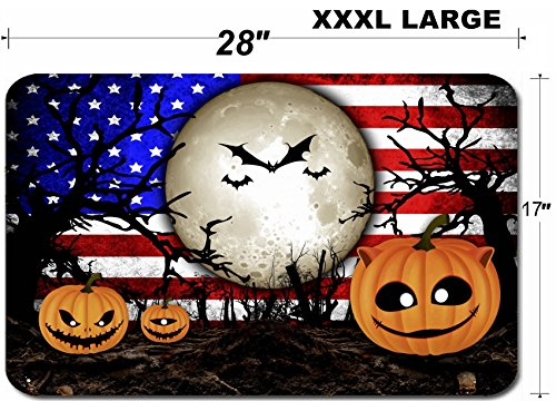 Liili Large Table Mat Non-Slip Natural Rubber Desk Pads Halloween Festival and USA Flag Background IMAGE ID 31510480 -