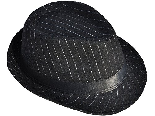 Mens Black Pinstriped - AshopZ Unisex Classic Teardrop-Dent Pinstriped Short Brim Fedora Cap, Black