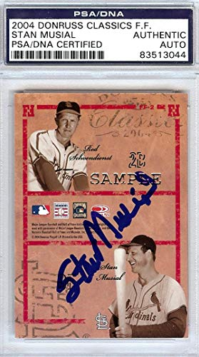 Stan Musial Autographed 2004 Donruss Classics Famous Foursomes Card St. Louis Cardinals Stock #72822 - PSA/DNA Certified