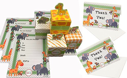 Adorox (144 Pcs. Pack (48 Invites + 48 Boxes + 48 Thank you cards)) Born To Be Wild Adorable Jungle Safari Zoo Theme Baby Shower Favor Candy Treat Box Thank You Cards Cute Birthday Decoration