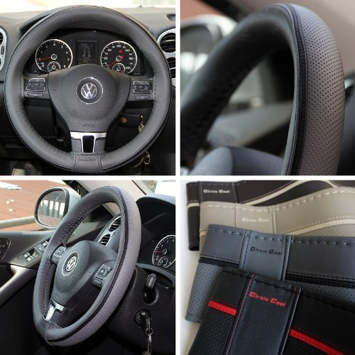 Circle Cool 47014 Grey with Dark Gray Line PVC Leather Steering Wheel Stitch On Wrap Cover 14.5