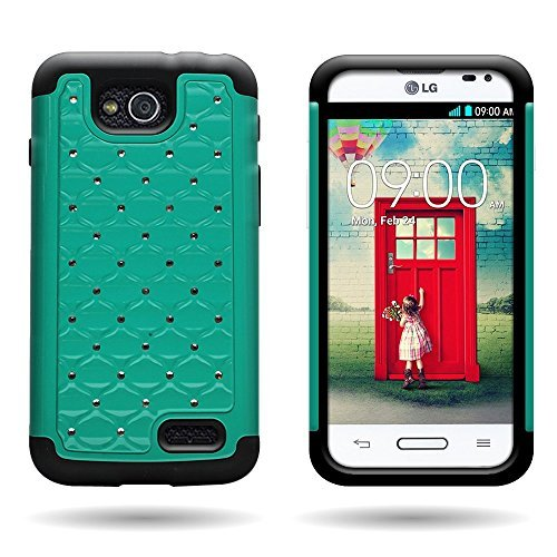 Wireless Central Hybrid Dual Layer Diamond Wydan Case for LG Optimus L90 D415 - Hard Teal Plastic + Soft Black - A L90 For Lg Case