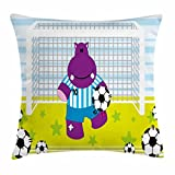 Ambesonne Sports Decor Throw Pillow Cushion Cover, Cute Hippopotamus Soccer Goal Keeper Football Cartoon Print, Decorative Square Accent Pillow Case, 24 X 24 inches, Apple Green Baby Blue Purple