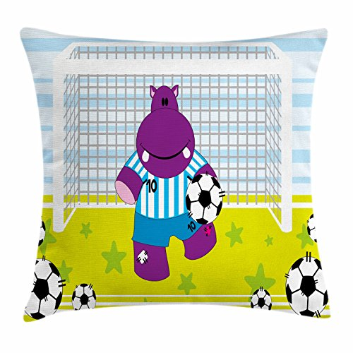 Ambesonne Sports Decor Throw Pillow Cushion Cover, Cute Hippopotamus Soccer Goal Keeper Football Cartoon Print, Decorative Square Accent Pillow Case, 24 X 24 inches, Apple Green Baby Blue Purple by Ambesonne