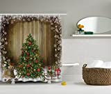 Christmas Shower Curtains Christmas Tree with Holiday Presents Vintage Style Fabric Shower Curtain Brown Green Red