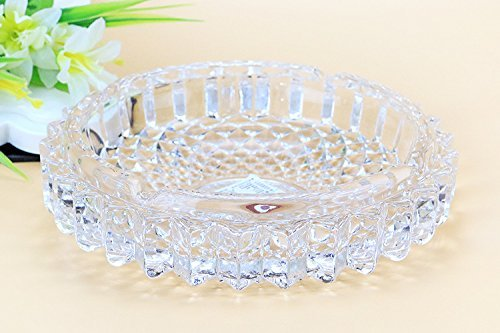 (jenifer2015 Crystal Cut Glass Round Ashtray Ash Tray7.67