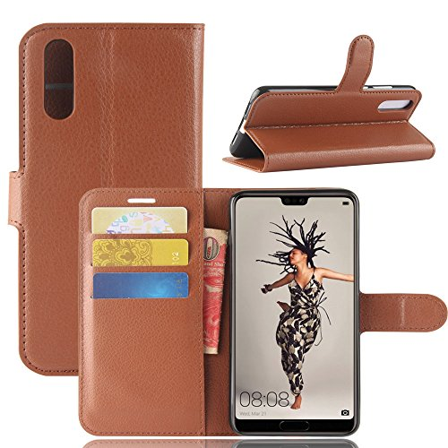 Price comparison product image Huawei P20 Case, MYLB Litchi Skin PU Leather [Wallet Flip Cover] [Card Holder] Stand Magnetic Folio Case for Huawei P20 Smartphone (Brown)