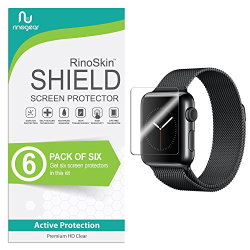 ((6-Pack) Apple Watch 38mm Screen Protector (Series 3 2 1, Compatible Short Fit for 40mm Series 4) RinoGear Case Friendly iWatch Screen Protector for Apple Watch Series 3 38mm Accessory Clear Film)