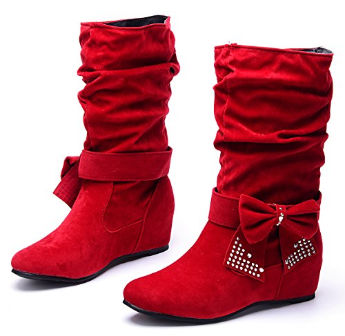 Clearance Women's Sweet Detachable Bowknot Hidden Wedge Mid Calf Slip On Boots (Red Flat Boots)