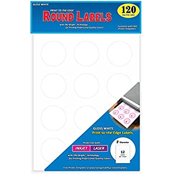 Amazon avery easy peel print to the edge round labels 2 pack of 120 permanent print to the edge round labels laserinkjet 2 inch glossy white pronofoot35fo Images