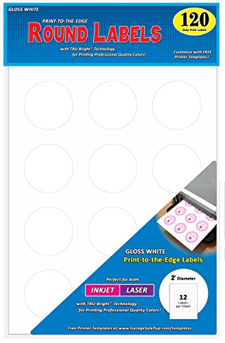Polished Circle Full (Pack of 120 Permanent Print-To-The-Edge Round Labels, Laser/InkJet, 2-Inch, Glossy White)