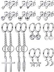 LOYALLOOK 12Pairs Moon Star Hoop Dangle Earrings Stainless Steel Dangle Hinged Hoop Earrings Men Women Tiny St