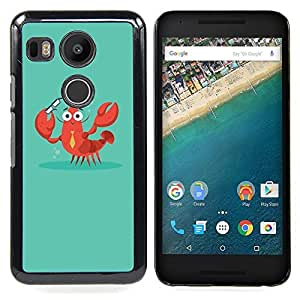 Crab Lobster Smart Teacher Teach Caja protectora de pl??stico duro Dise?¡Àado King Case For LG Google Nexus 5X