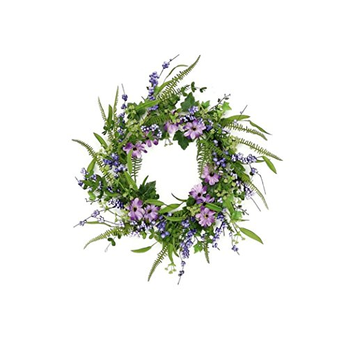 "Custom & Unique (24"" Inches) 1 Single Large Size Decorative Holiday Wreath for Door, Made of Resin w/ Artificial Easter Spring Time Vines, Leaves, Berries & Wild Flowers Style (Purple, Brown, & Green) ()"