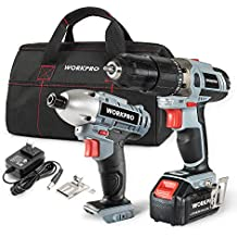 [Patrocinado] WORKPRO Cordless Drill Driver/Impact 20V Lithium Combo Kit(1.5Ah),1 Battery,Charger and Storage Bag Included