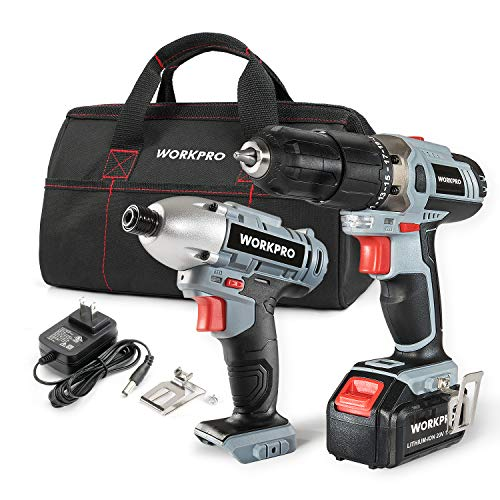 WORKPRO Cordless Drill Driver/Impact 20V Lithium Combo Kit(1.5Ah),1 Battery,Charger and Storage Bag Included