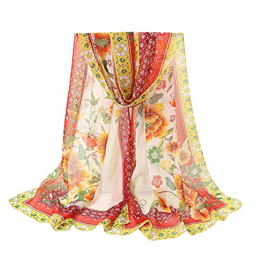 Lightweight Fall Scarfs for Women Hot Sale,deatu Clearance Ladies Flowers Printing Long Soft Wrap Scarf Shawl (E)