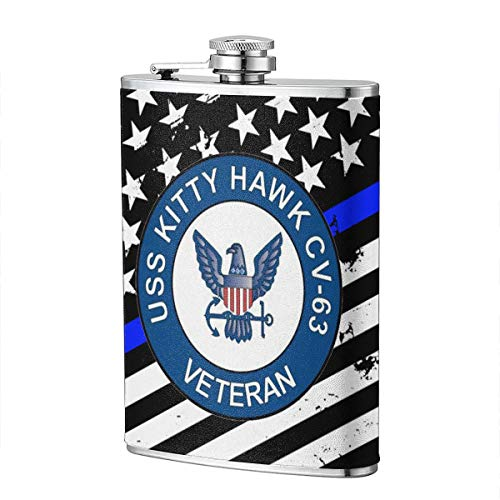 (JiuHuuioz US Navy USS Kitty Hawk CV-63 Ship Veteran Hip Flask Pocket Bottle Flagon 8oz with Leather Case)