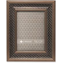 Lawrence Frames Haber Bronze Lattice Picture Frame, 5 by 7-Inch