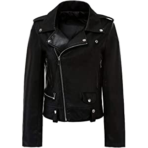 Macondoo Womens Fashion Outwear Oblique Zipper Moto Biker Faux Leather Jacket