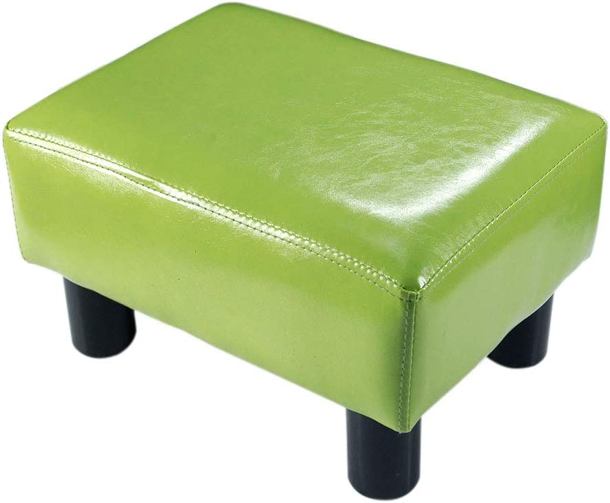TOUCH-RICH Small Foot Rest Stool Rectangle Modern PU Faux Leather Ottoman Padded Seat Footrest Footstool in Grass Green