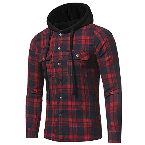 MAYUAN520 Camisa de Hombre Camiseta Camiseta Hombre de Manga Larga Plaid Grande Doble Bolsillo Cuadriculado de Hombres Encapuchados Camiseta Plaid,3XL bd9ff9