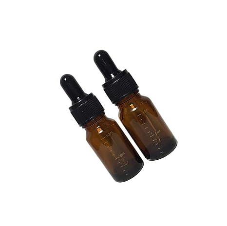 LEEQ 6 Unidades 10 ML 0.34 oz vacío rellenable ámbar Graduado Vidrio Botella de Aceite Esencial