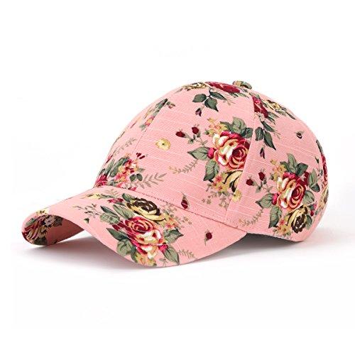 JOOWEN Floral Print Baseball Cap Adjustable 105% Cotton Canvas Dad Hat Hats for Women (Floral-Pink)