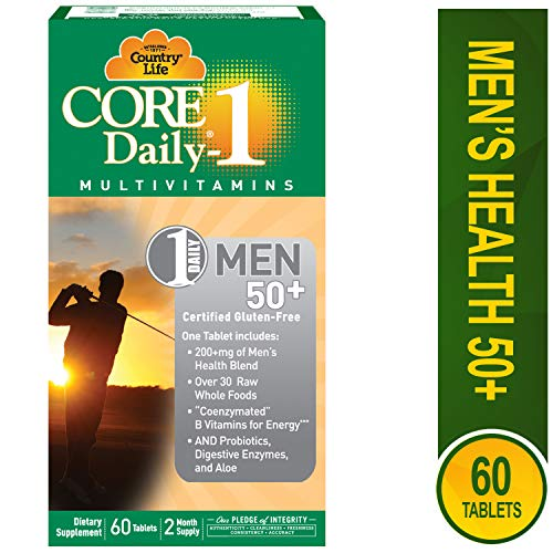 Core Daily-1 Mens 50 Plus, Multivitamin with Coenzymated B Vitamins for Energy, Healthy Aging, Over 30 Raw Whole Foods, 60 Tablets