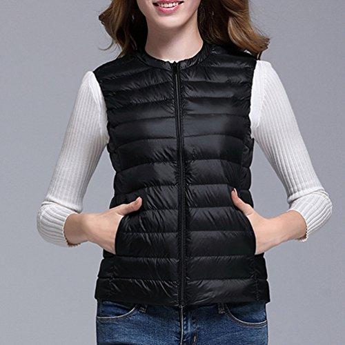 Slim with Women's Baymate Zipper Outwear Vest Fit Jacket Neck Round Gilet Down Short Jacket Black FpxU8qnpw
