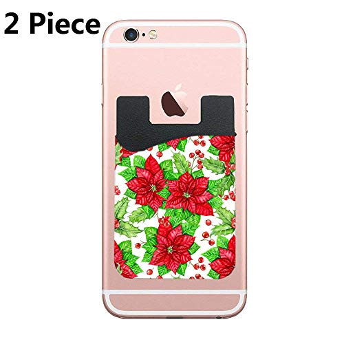 (CardlyPhCardH Poinsettia and Holly Berry Watercolor Christmas Adhesive Silicone Cell Phone Wallet/Card Holder for iPhone, Android, Samsung Galaxy, Most Smartphones - 2 Piece)