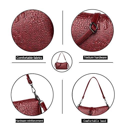 2018 Tinto Bolso Cuero PU de la pequeña de para cocodrilo Lujo de en Vino Textura con de Tisdaini señoras Mujeres de Bolso Hombro Las ggdq1