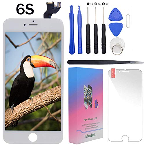 """For iPhone 6s Screen Replacement Lcd White - 4.7"""" Display with 3D Touch [Front Camera] [Proximity sensor] [Ear Speaker] [Repair Tools] Full Assembly Digitizer Glass Kit for iPhone 6s (White)"""
