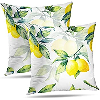 KJONG Lemon Tree Leaves Decorative Pillow Covers, 18 x 18 inch Set of 2 Square Pillow Cushion Seamless Pattern White Fruit Leaf Watercolor Agriculture for Sofa Bedroom Living Room(Two Sides Print)