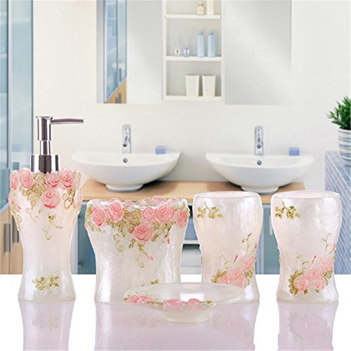 Discount JruF Romantic Rose Creative Bathroom Accessories Set, 5 Piece Bathtub Set, Bath Set Series Features Fashion Lotion Bottle, Toothbrush Holder, Tumbler And Soap Box - Light Pink free shipping