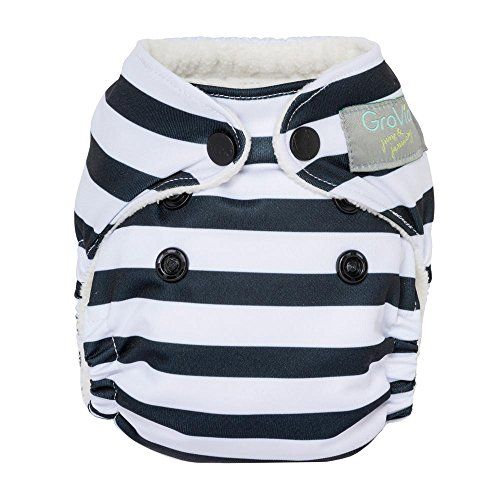 GroVia Newborn All in One Snap Reusable Cloth Diaper (AIO) (Onyx Stripe)