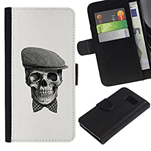 Stuss Case / Funda Carcasa PU de Cuero - Cráneo Gentleman - Samsung Galaxy S6