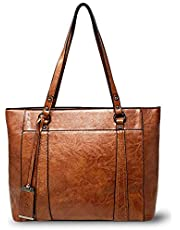 Laptop Tote for Women - Large Office Bag - Leather Work Handbag and Purse fits up to 15.6 inch Laptop