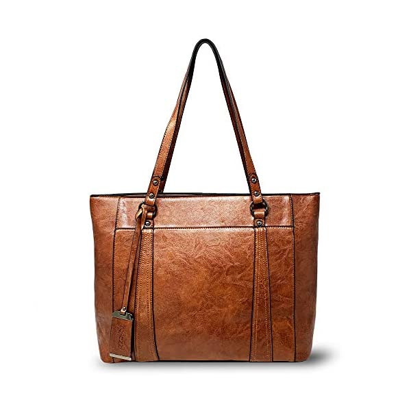 Laptop Tote for Women - Large Office Bag - Vegan Leather Work Handbag and Purse fits up to 15.6 inch Laptop