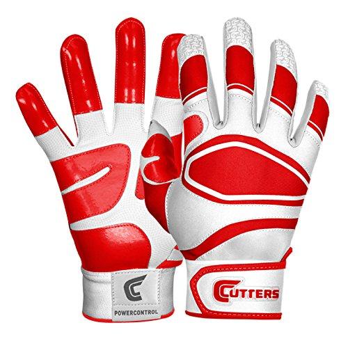 Cutters Gloves Men's Power Control Baseball Batting Glove, White/Red, Medium
