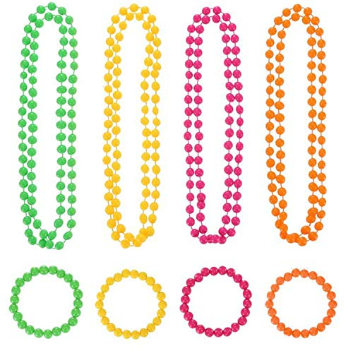 8 Pieces 80s Fancy Dress up Beaded Necklace and Beaded Bracelet Set Multicolour Plastic Neon Jewelry Accessories Set for Girls Women